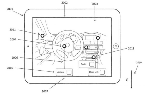 Patent illustration of how an iPad could be used to indicate the features of a car in AR