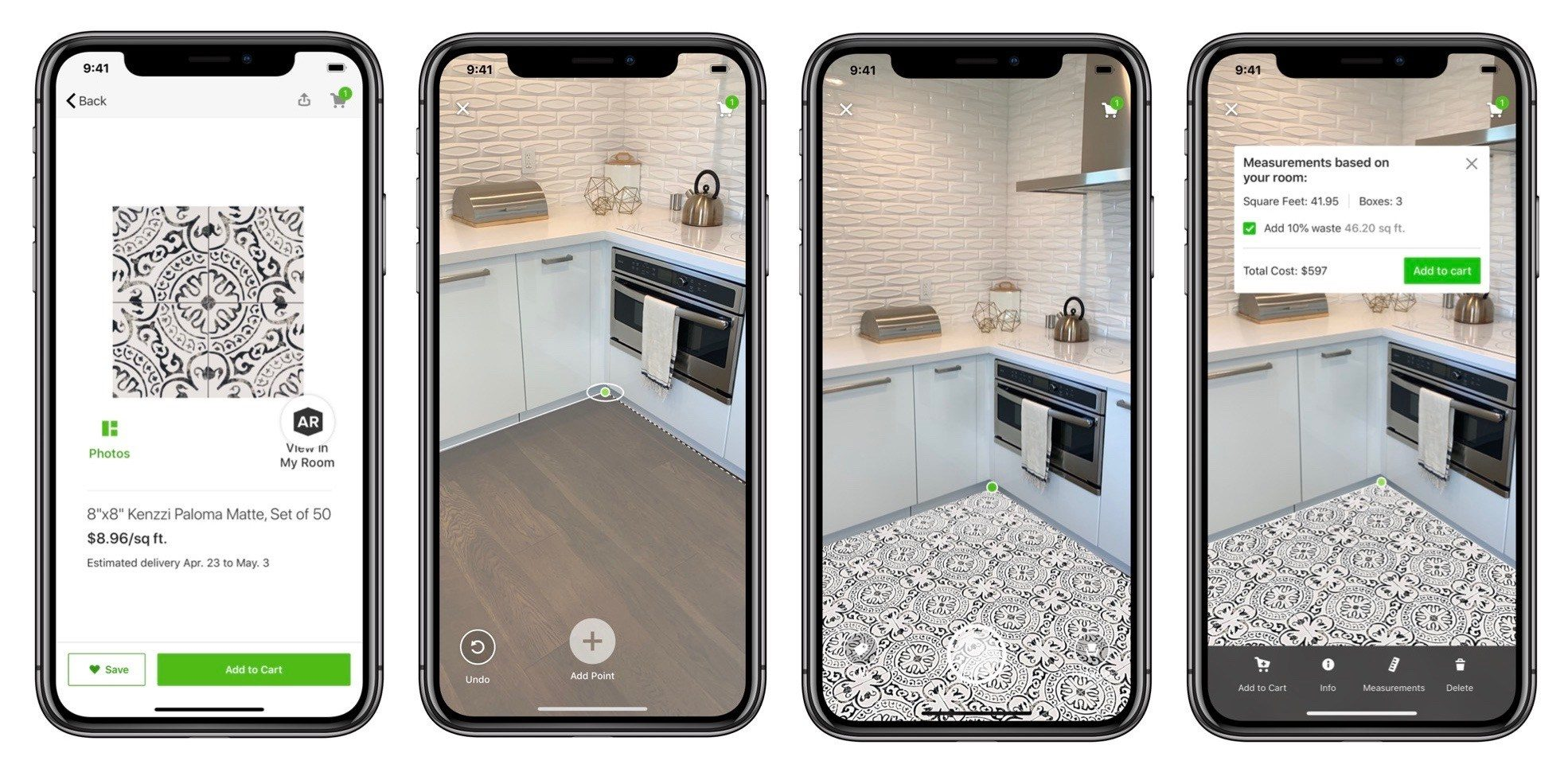 Houzz View in My Room 3D Augmented Reality Tool for Tile Designs