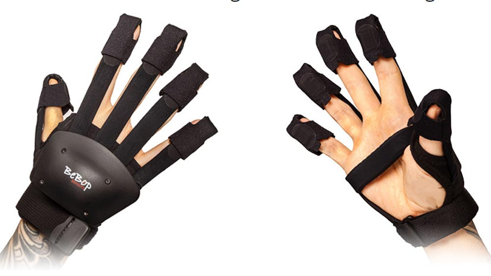 The Bebop Data Gloves become Quest Gloves by attaching the Quest Controller to the back of the hand