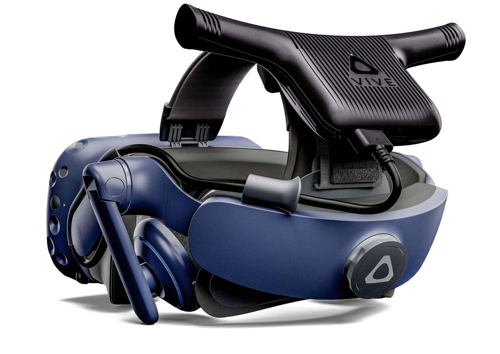 Vive wireless adapter mounted on a Vive Pro