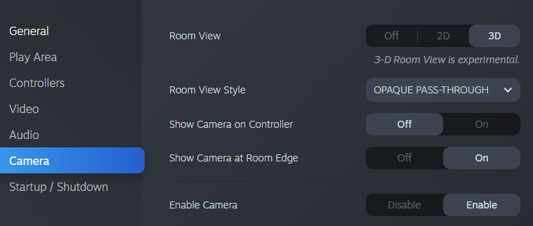 SteamVR 3D Room View Settings Tab