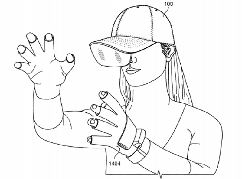 Facebook imagines that the AR hat can be remotely controlled using data gloves or a tech bracelet