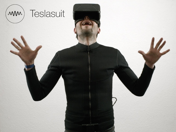 The Tesla Suit is a full-body haptic suit that allows users to feel what they play. It's a smart textile gaming suit that lets people interact with virtual environments in ways that were not possible before. Its electro-tactile haptic feedback system offers the ability to touch and feel any virtual object inside the VR world.