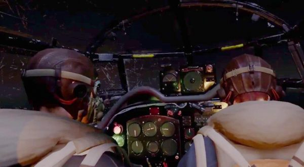 Users get a feel of the cockpit for a 1943 Lancaster bomber