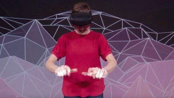 The Microsoft HoloLens 2 AR headset can track the position of a users hands and fingers thereby making it easier for them to manipulate virtual objects