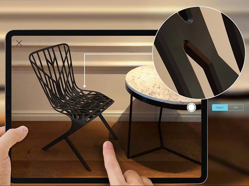 The AR products can be viewed true to scale next to other furniture
